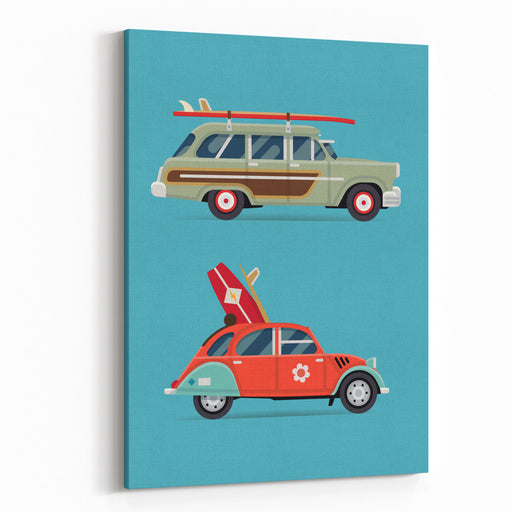 Vector Trendy Flat Design Recreational Vehicle Icons On Surf Travel With Old Classic Vintage European And American Beach Surf Cars, Side View, Isolated Canvas Wall Art Print