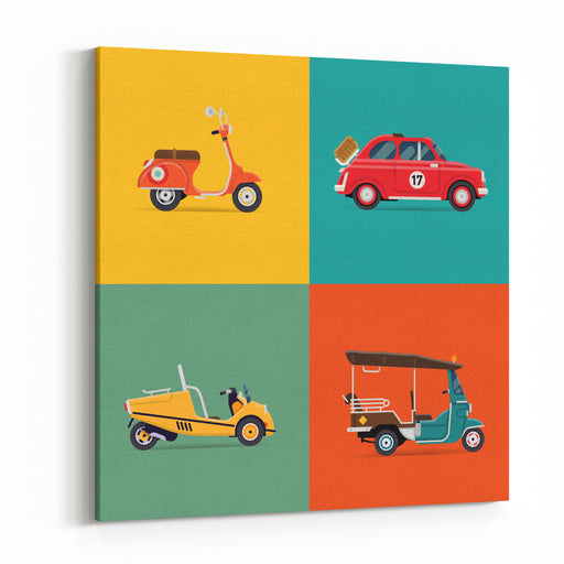 Vector Trendy Flat Design Icons On Small City And Urban Exploring And Visiting Tours Transport Vehicles With Retro Scooter, Vintage Small European Car, Two Seated Tourist Cart, Auto Rickshaw Canvas Wall Art Print