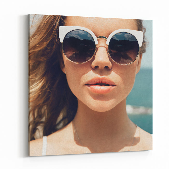 88cd08ba10 Closeup Fashion Summer Portrait Of Pretty Young Woman In Sunglasses Posing  On The Beach On Vacation