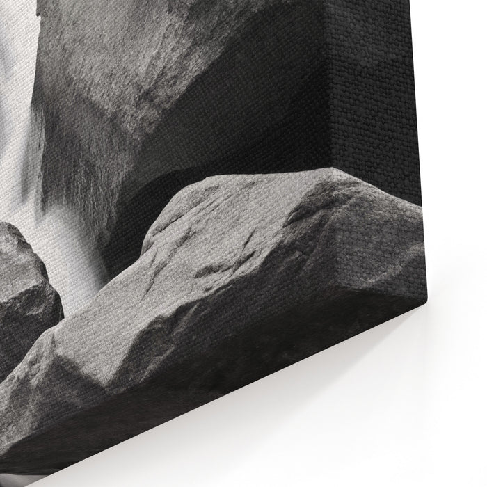 A Black And White Photograph Of Water Streaming Down Rocks At Yosemite Falls In Yosemite National Park Canvas Wall Art Print