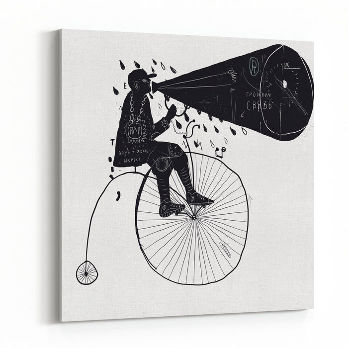 Man On A Bicycle Canvas Wall Art Print