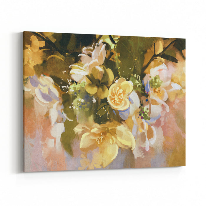 Digital Painting Of Abstract Flowers,illustration Canvas Wall Art Print