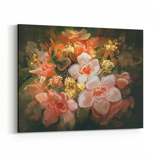 Beautiful Colors Of Flowers,digital Painting,illustration Canvas Wall Art Print