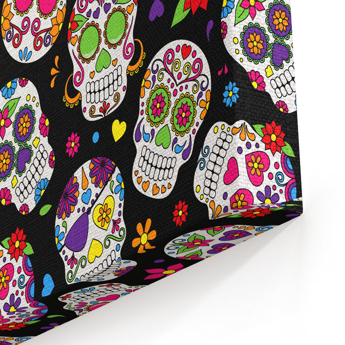Day Of The Dead Sugar Skull Seamless Vector Background Canvas Wall Art Print