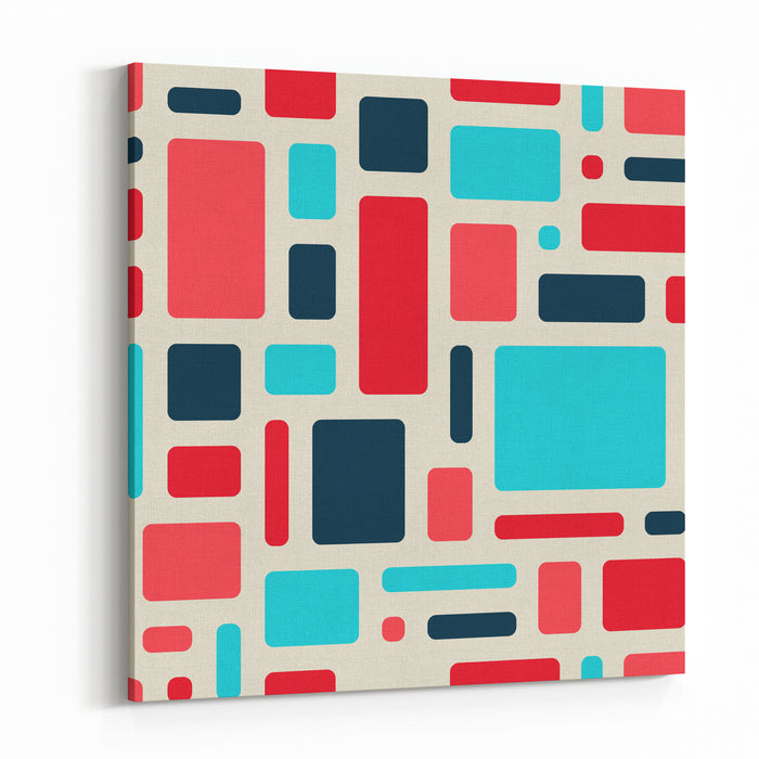 Soft Geometric Pattern In Retro Colours Sample Textile Painting Red Blue Pink Rectangles With Rounded Corners On A Light Background Canvas Wall Art