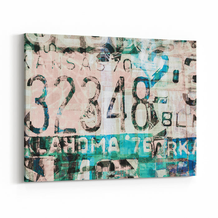 Abstract Painting On Canvas Texture Inspired By Car License Plate Canvas Wall Art Print