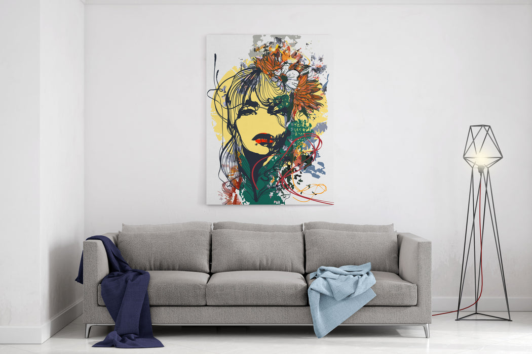 Abstract Print With Female Face, Painted Elements And Flowers Canvas Wall Art Print