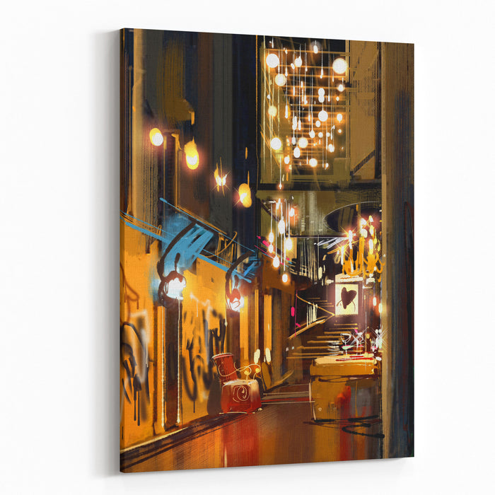 Interior Of Hallway With Decorative Lamps,digital Painting,illustration Canvas Wall Art Print