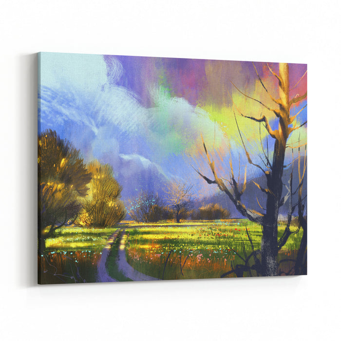 Colorful Summer Field With Flowers,digital Painting,illustration Canvas Wall Art Print