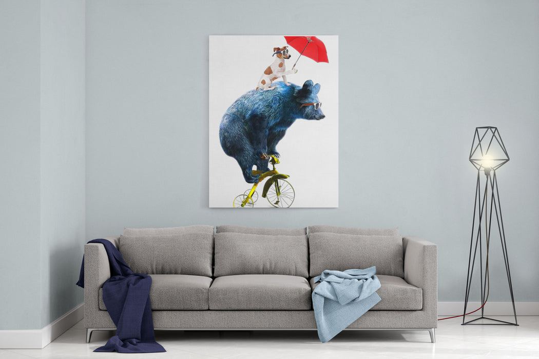 Bear And Dog Circus Show Illustration Performance Of The Bear On BikeTshirt GraphicsCute Cartoon CharactersAnimal Print Canvas Wall Art Print