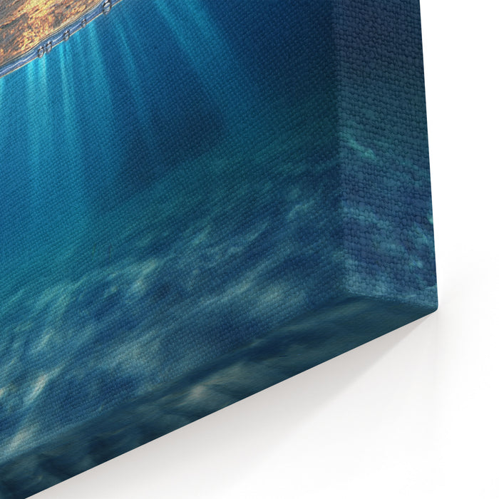 Abstract Design Template With Underwater Part And Sunset Skylight Splitted By Waterline Canvas Wall Art Print