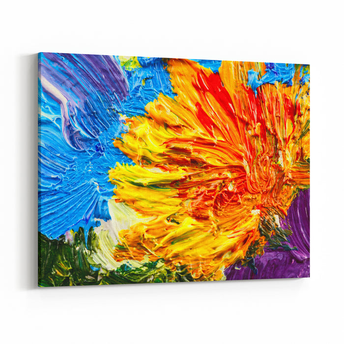 Abstract Background Oil Painting  Flowers Canvas Wall Art Print