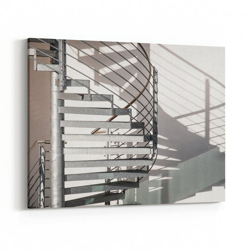 Spiral Staircase At A Modern Building Canvas Wall Art Print