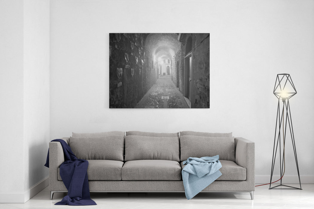 Aulla Massa E Carrara, Tuscany, Italy, Historic Town In Lunigiana Covered Alley At Evening Canvas Wall Art Print
