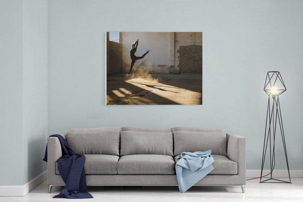 Beautiful Young Ballerina Dancing In Abandoned Building Canvas Wall Art Print
