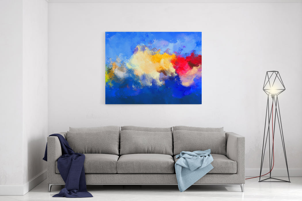 Abstract Oil Painting Blue Background Canvas Wall Art Print
