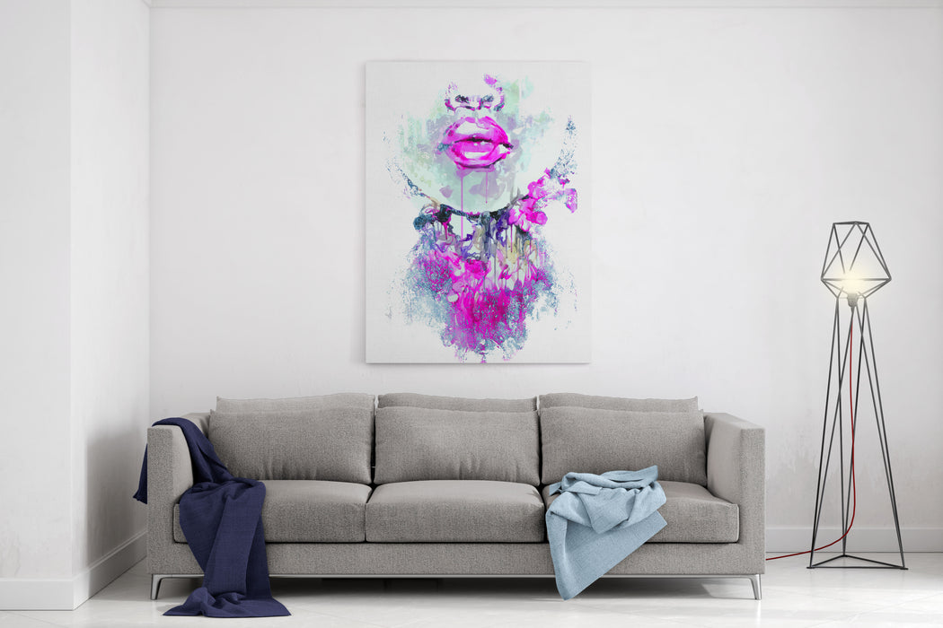 Abstract Print With Female Face And Painted Elements Canvas Wall Art Print