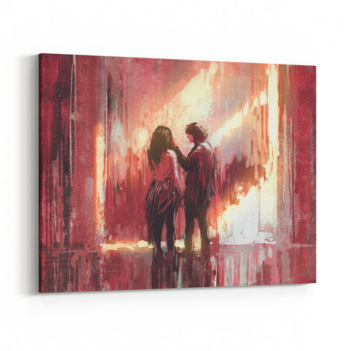 Young Couple In Love Outdoor,digital Painting,illustration Canvas Wall Art Print
