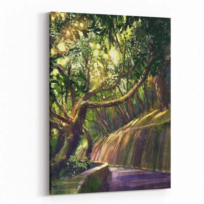 Digital Painting Of Walkway In Beautiful Park,illustration Canvas Wall Art Print