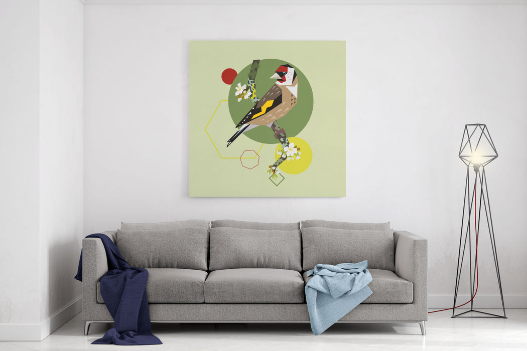 Illustration Of A Bird On Blooming Branch With Geometric Shapes Canvas Wall Art Print