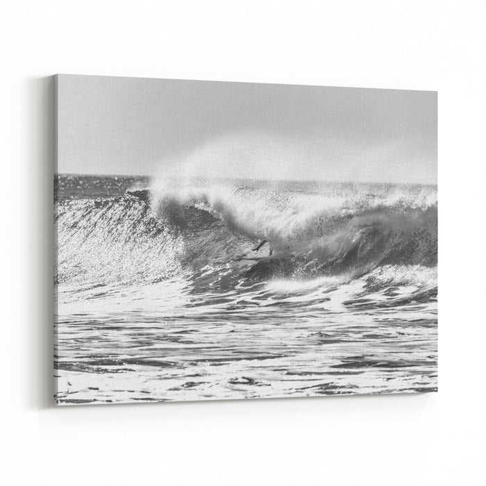 A Giant Wave Just About To Break With White Foam And Ocean Spray Around It Canvas Wall Art Print