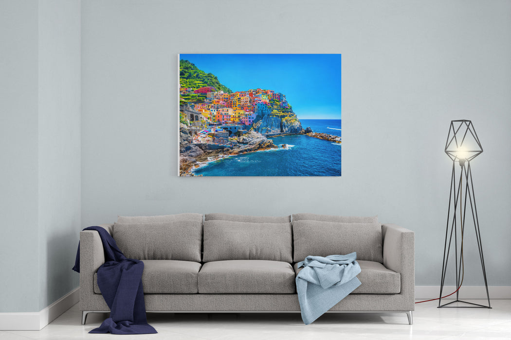Beautiful Colorful Cityscape On The Mountains Over Mediterranean Sea,Europe, Cinque Terre, Traditional Italian Architecture Canvas Wall Art Print