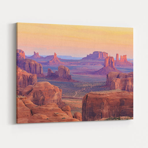 Sunrise In Hunts Mesa, Monument Valley, Arizona, USA Canvas Wall Art Print
