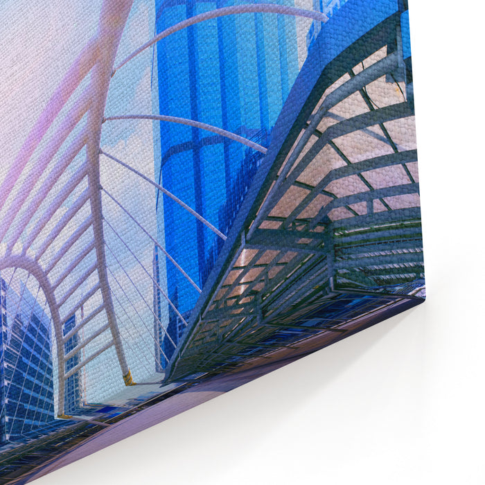 Bridge Link Between Mrt And Bts Mass Transportation In Heart Of Bangkok Newly Modern Important Land Mark Of City Life In Bangkok Thailand Color Process In Blue Vibrant Tone Canvas Wall Art Print