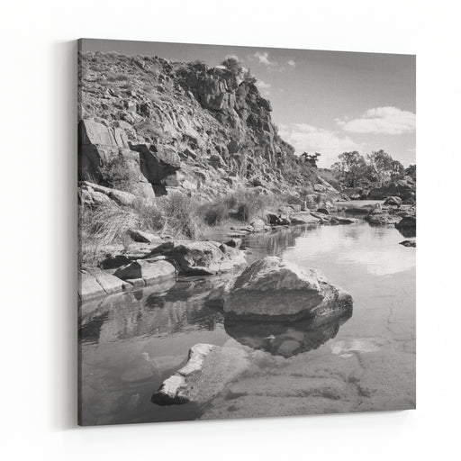 A Beautiful Oasis In Rural Outback Australia In Black And White Canvas Wall Art Print