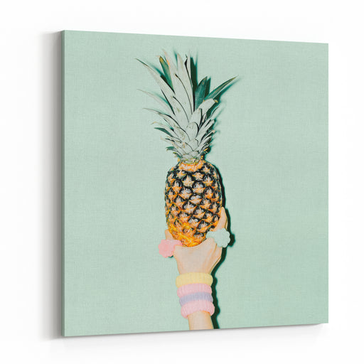 Fashion Photo Hand Holding Pineapple Vanilla Style Canvas Wall Art Print