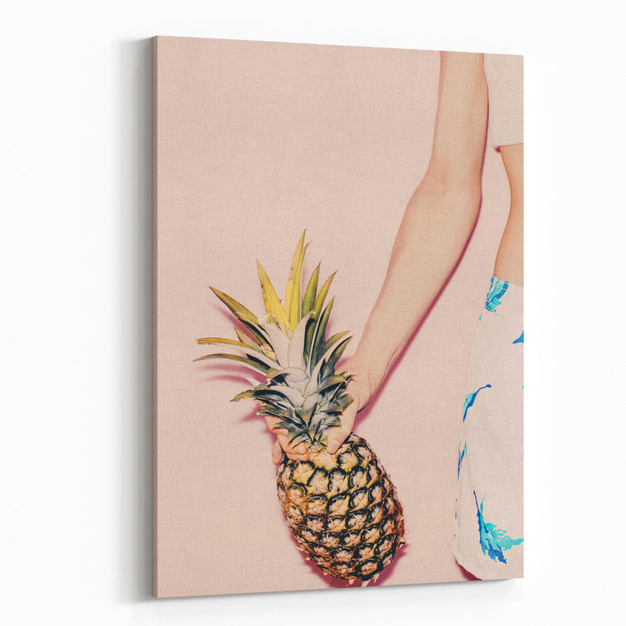 Tropical Summer Fashion Girl With Pineapple Vanilla Style Colors Canvas Wall Art Print