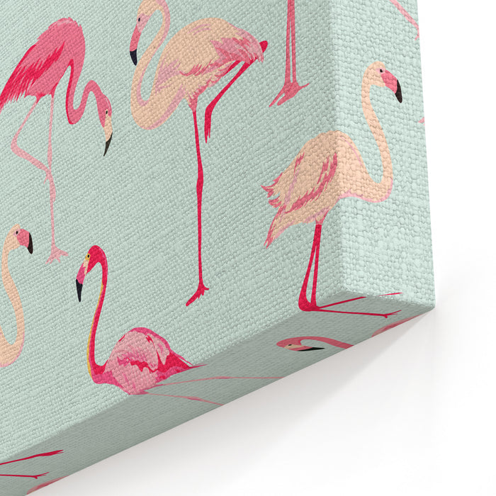 Flamingo Bird Background  Retro Seamless Pattern In Vector Canvas Wall Art Print
