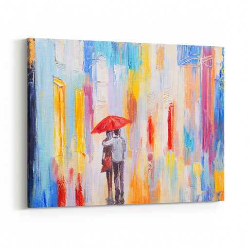 Couple Is Walking In The Rain Under An Umbrella, Abstract Colorful Oil Painting Canvas Wall Art Print