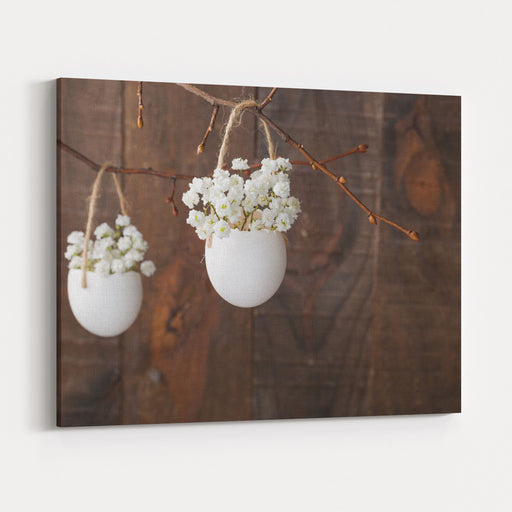 Bunch Of Of White Babys Breath Flowers Gypsophila In Eggs Shell On The Brown Wooden Plank Shallow Depth Of Field, Focus On Near Flowers Easter Decor Canvas Wall Art Print