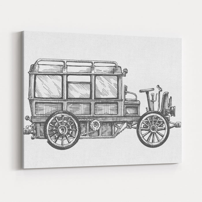 Retro Car Vector Logo Design Template Vehicle Or Bus Icon Canvas Wall Art Print