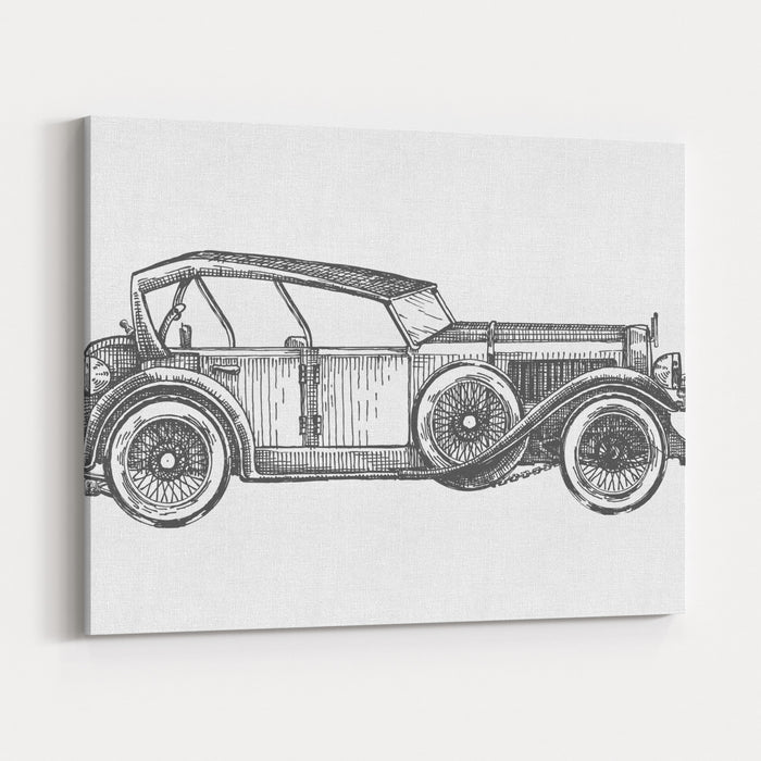 Retro Car Vector Logo Design Template Transport Or Vehicle Icon Canvas Wall Art Print