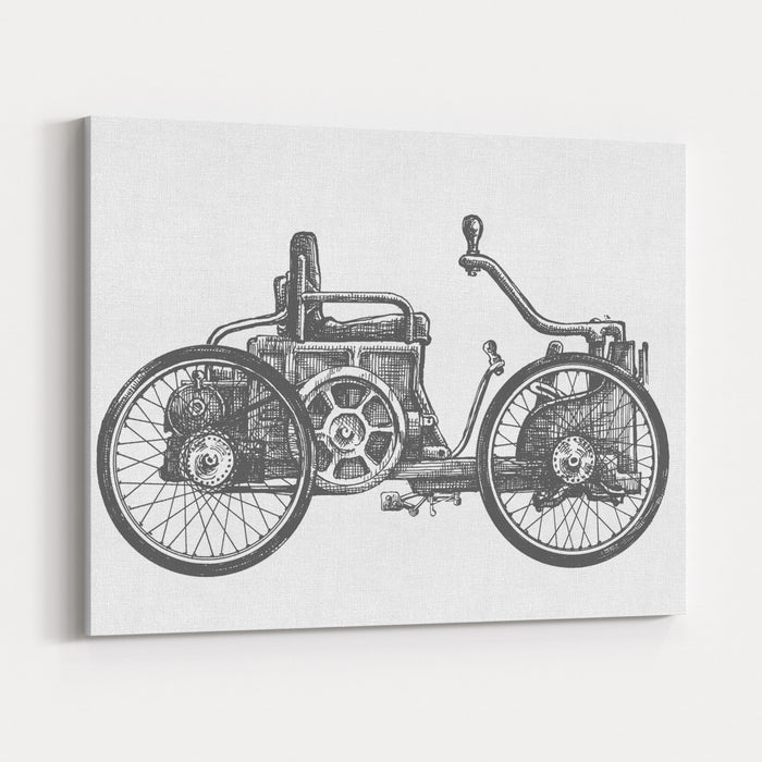 Antique Car Vector Logo Design Template Transport Or Vehicle Icon Canvas Wall Art Print