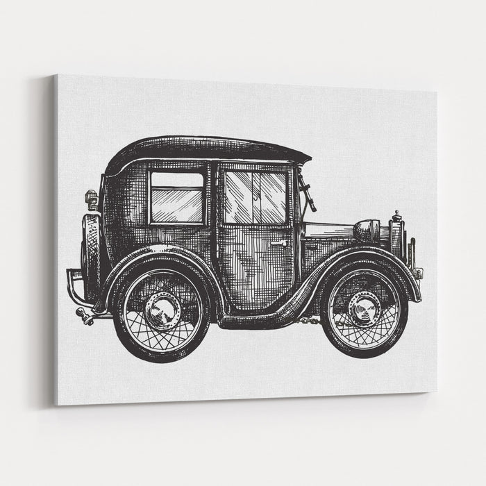 Car Vintage Vector Logo Design Template Transport Or Vehicle Icon Canvas Wall Art Print
