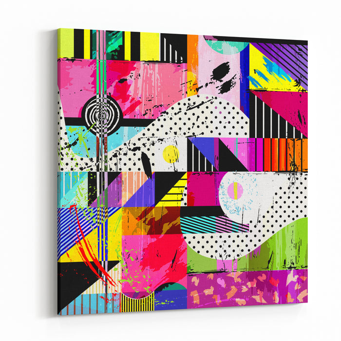 Abstract Background, With Strokes, Splashes And Geometric Lines Canvas Wall Art Print