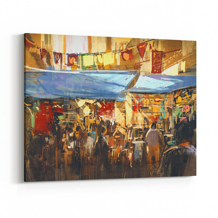 Digital Painting Of Colorful Street Market,illustration Canvas Wall Art Print