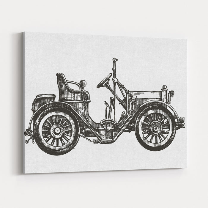 Old Car On A White Background Sketch Canvas Wall Art Print