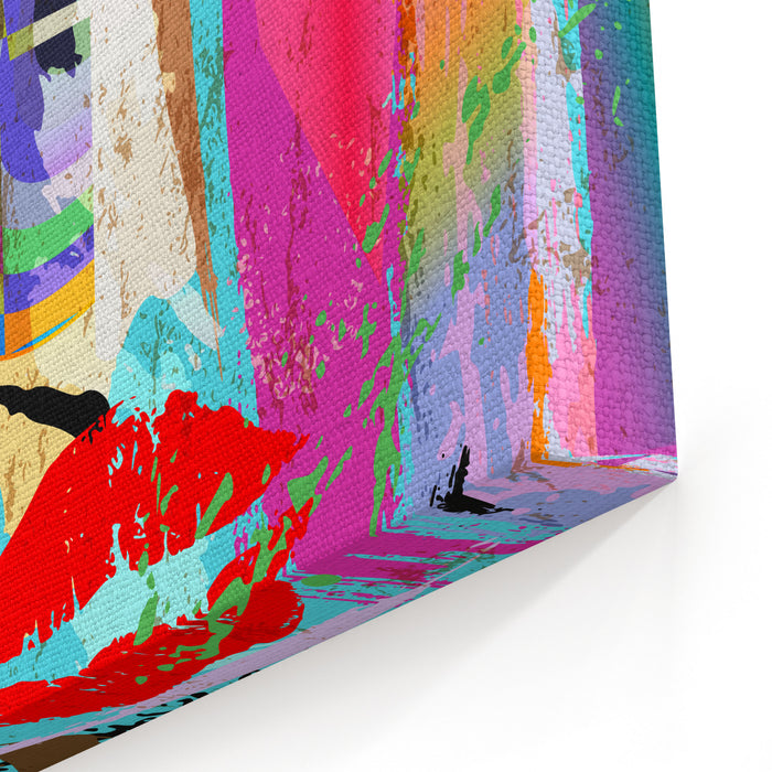 Abstract Background Composition, With Paint Strokes And Splashes, Facemask Canvas Wall Art Print