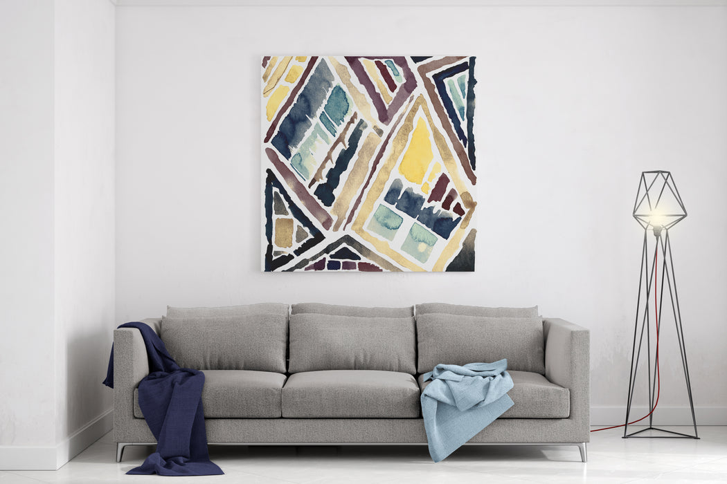 Abstract Geometric Painting Mixed Technique Background Canvas Wall Art Print