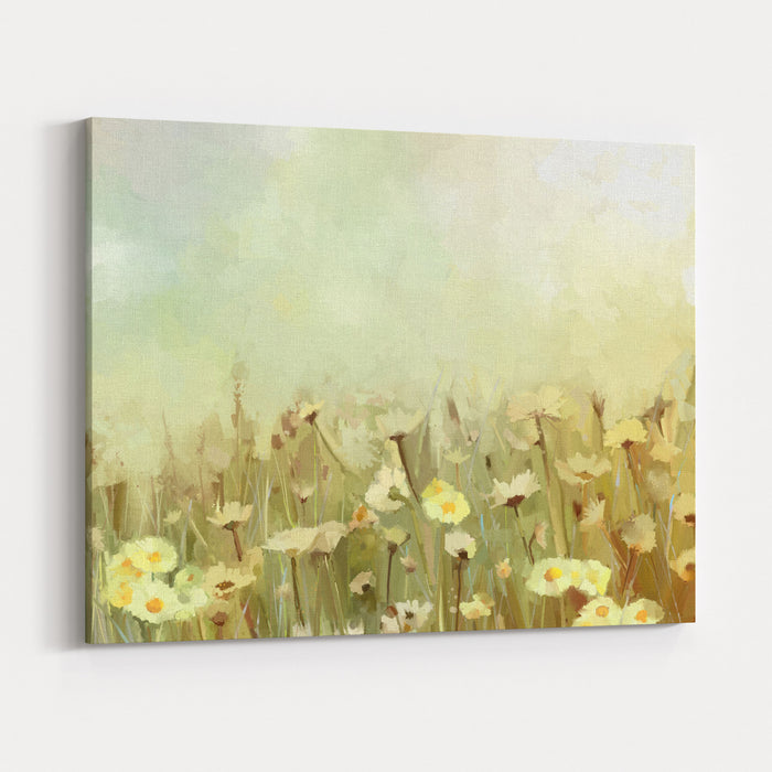 Vintage Oil Painting Daisychamomile Flowers Field At SunriseFlower Oil Painting Background Canvas Wall Art Print