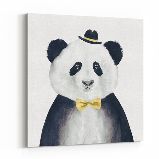 Watercolor Hipster Panda Drawing Hipster Animal Canvas Wall Art Print