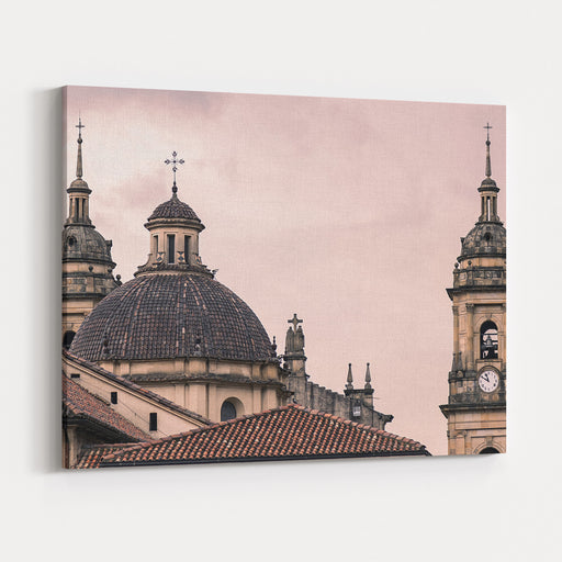A Famous Cathedral In Bogota, Colombia, With A Red Sky Behind It Canvas Wall Art Print
