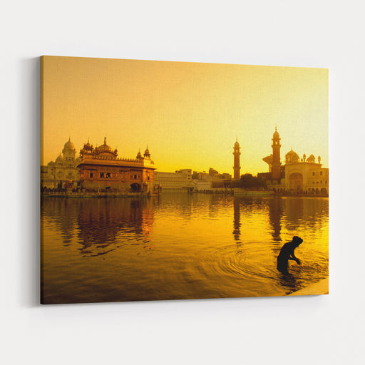 Sunset At Golden Temple In Amritsar, Punjab, India Canvas Wall Art Print