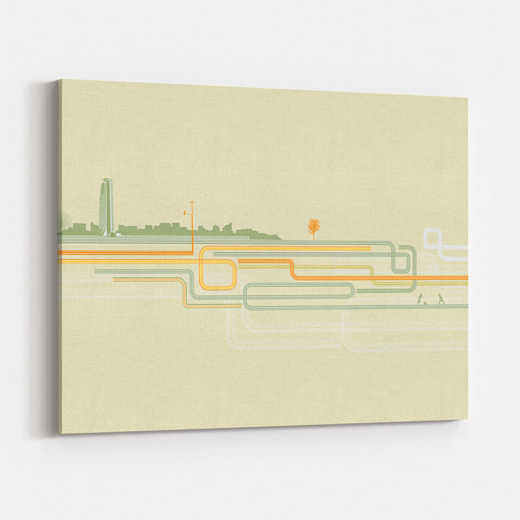 Vector Illustration Of Color Lines With Style Urban Background Canvas Wall  Art Print