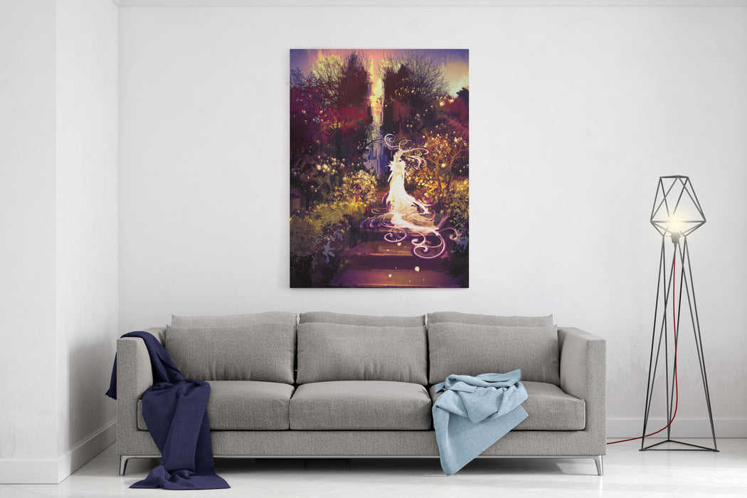 Fantasy Landscape Painting Of Beautiful Goddess Up The Stairs,illustration Canvas Wall Art Print