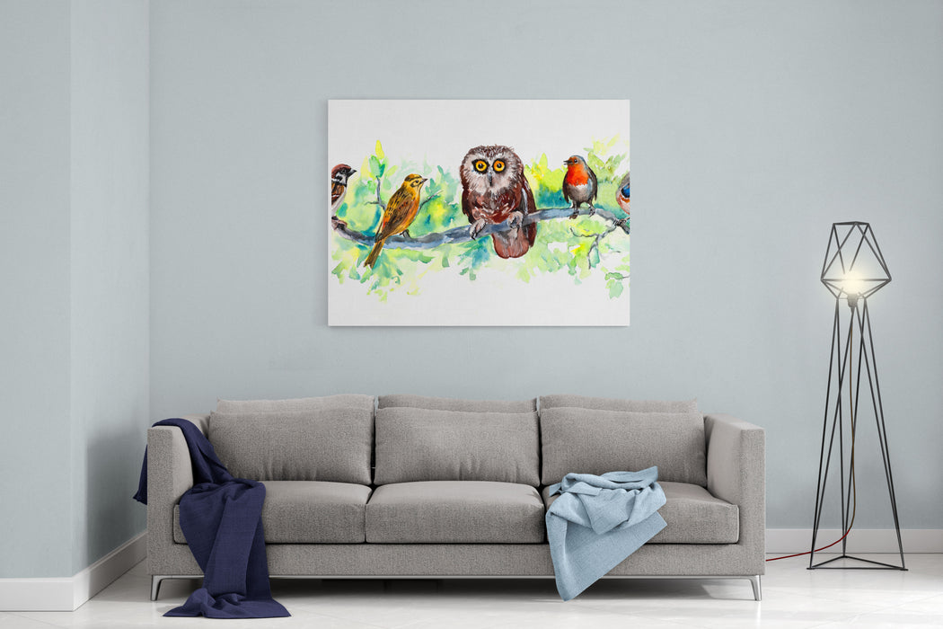 Birds Liner Wildlife Banner Decoration With Wildlife Scene Pattern Fromforest Inhabitants Water Color Painting Birds Background Illustration Manybirds